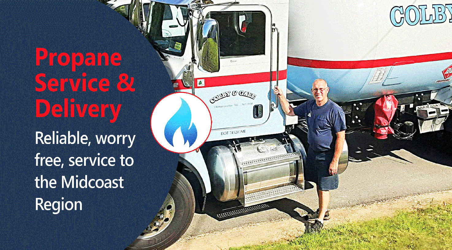 An employee at Colby & Gale stands beside a Propane delivery truck