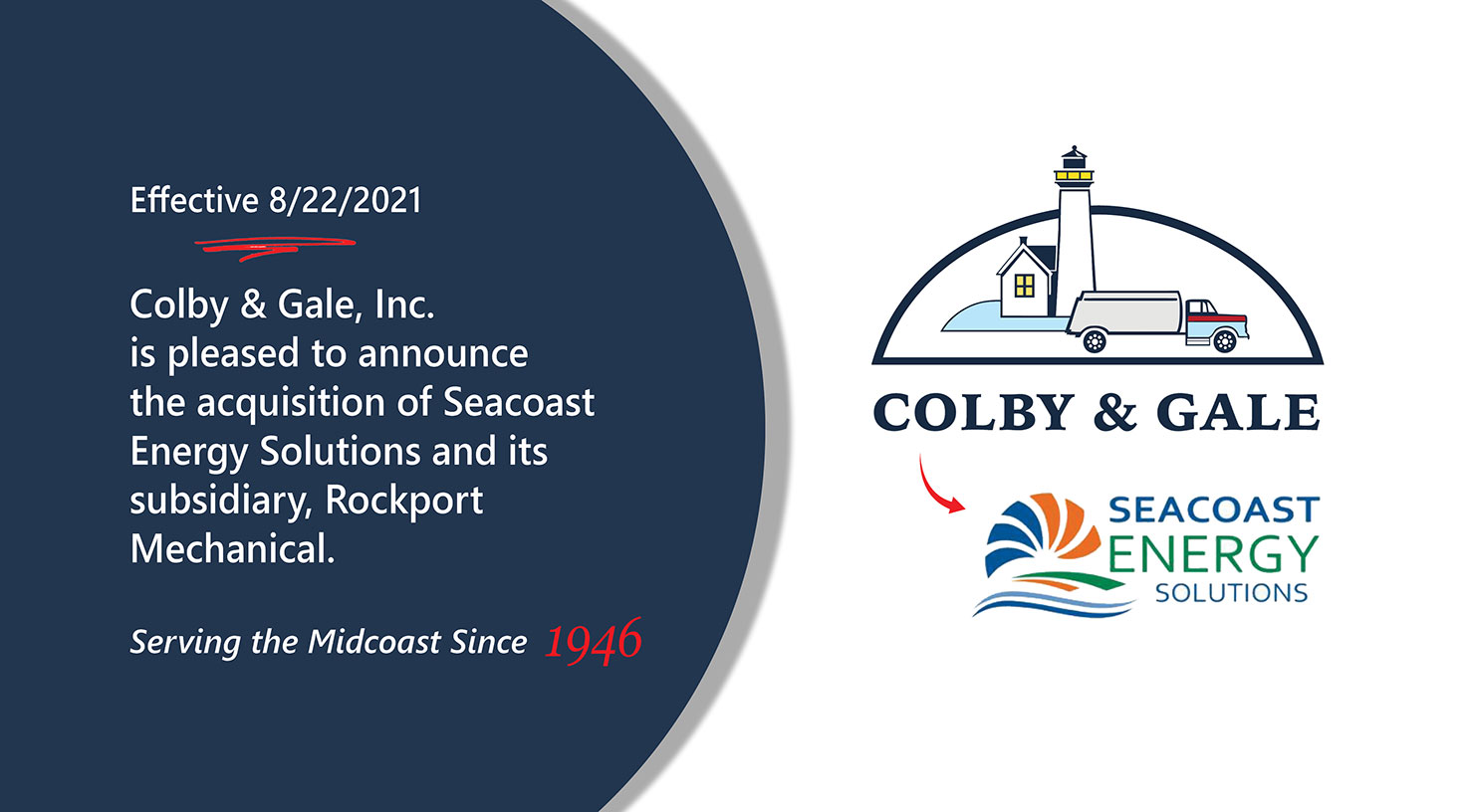 Colby & Gale announcement about their acquisition of Seacoast Energy Solutions effective 8/22/2021