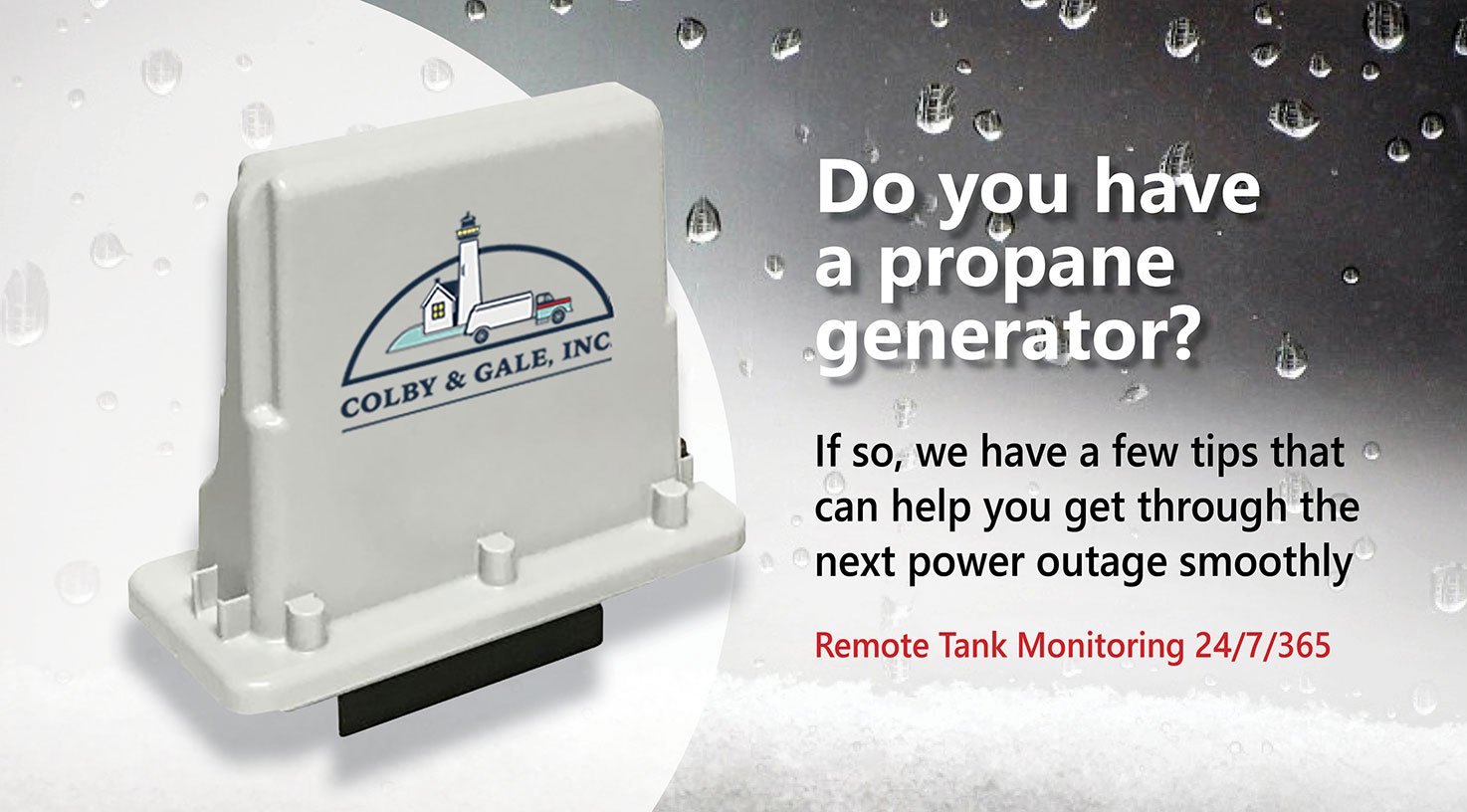 a graphic showing text, do you have a propane generator?
